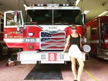 Girl in Miami Fire Station Royalty Free Stock Image