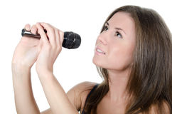 The girl with a microphone Stock Photos