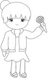 Girl with a microphone coloring page Stock Photography