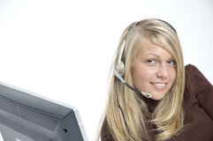 Girl / microphone headset Royalty Free Stock Photography