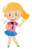 Girl with microphone singing and dancing stock illustration