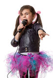 Girl with microphone Stock Image