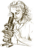 Girl with a microscope Stock Image
