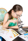 Girl microscope Royalty Free Stock Images