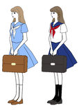 Girl in a middy blouse and skirt as a school uniform Stock Photography