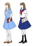 Girl in a middy blouse and skirt as a school uniform Royalty Free Stock Images