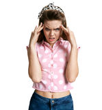Girl with migraine headache overworked and stressed Stock Photography