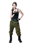 The girl in a military uniform Royalty Free Stock Photography