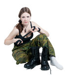 Girl in a military uniform Royalty Free Stock Images