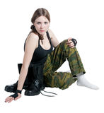 The girl in a military uniform Stock Photos