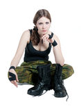 The girl in a military uniform Royalty Free Stock Photos