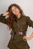 Girl in military uniform Royalty Free Stock Image