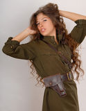 Girl in military uniform Stock Photo