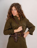 Girl in military uniform Stock Image