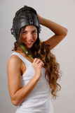 Girl in military uniform Royalty Free Stock Images
