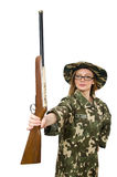 The girl in military uniform holding the gun isolated on white Royalty Free Stock Photos