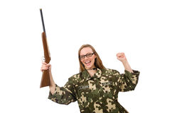 The girl in military uniform holding the gun isolated on white Royalty Free Stock Image