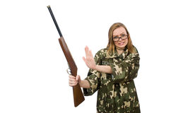 The girl in military uniform holding the gun isolated on white Royalty Free Stock Photo
