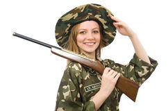 The girl in military uniform holding the gun isolated on white Stock Photo