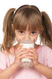 Girl with milk Royalty Free Stock Photography