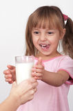 Girl with milk Royalty Free Stock Images