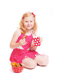 girl with milk and cake  on white Stock Photos