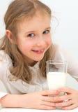 Girl with milk. Royalty Free Stock Photos