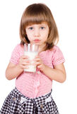 The girl with a milk glass Royalty Free Stock Photo