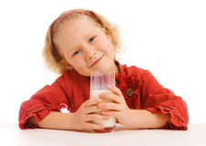 Girl with milk glass Stock Images