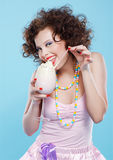 Girl with milk shake Royalty Free Stock Photos