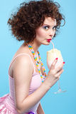 Girl with milk shake Royalty Free Stock Photography