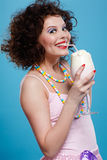 Girl with milk shake Royalty Free Stock Photo