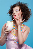Girl with milk shake Royalty Free Stock Images