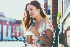 Girl with milk shake at street Royalty Free Stock Photo