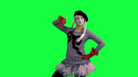 The girl mime funny dancing. The girl mime against a green background stock video footage