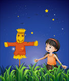 A girl mimicking the scarecrow. Illustration of a girl mimicking the scarecrow stock illustration