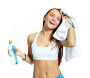 Girl with mineral water Royalty Free Stock Photos