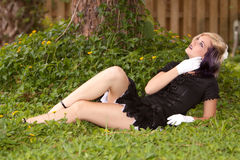 Girl in mini dress Stock Photography