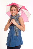 Girl with mini umbrella Royalty Free Stock Image