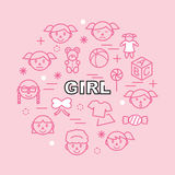 Girl minimal outline icons Royalty Free Stock Image