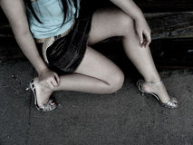 Girl with miniskirt and heels Royalty Free Stock Photography