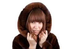 The girl in a mink fur coat Royalty Free Stock Image