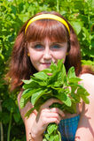 The girl with a mint bouquet Stock Photos