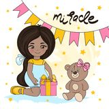 GIRL MIRACLE Valentine`s Day Illustration. GIRL MIRACLE Valentine`s Day Vector Illustration Set for Print, Decorations and Design royalty free illustration