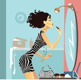 Girl at a mirror Royalty Free Stock Photography