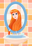 Girl in a mirror. The beautiful young woman in a bathroom, is reflected in a mirror Royalty Free Stock Images