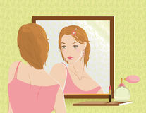 Girl in the mirror Royalty Free Stock Images