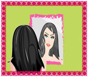 Girl with the mirror. A beautiful girl with a mirror Royalty Free Stock Photo