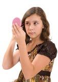 Girl & mirror Stock Photography