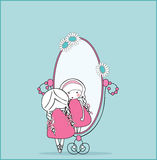 Girl in mirror. Vector illustration of girl in mirror Royalty Free Stock Photography
